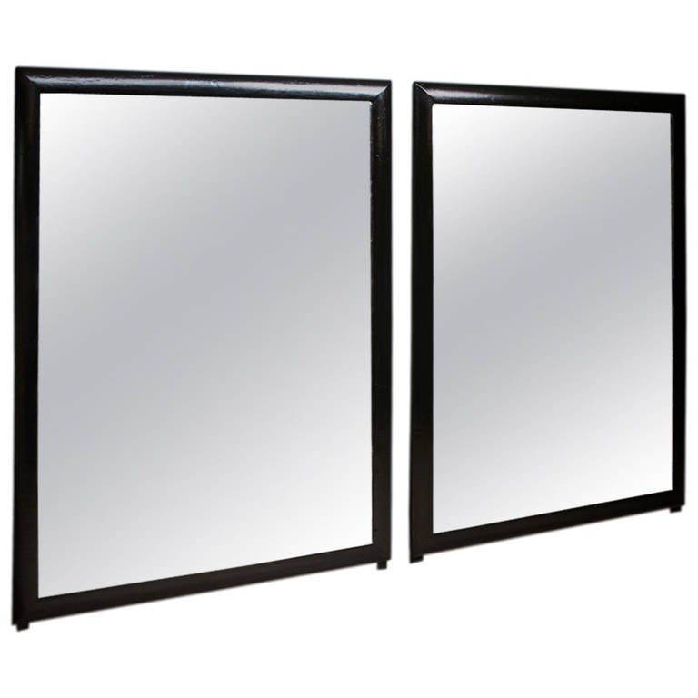 Pair of black framed mirrors at 1stdibs for Black framed floor length mirror