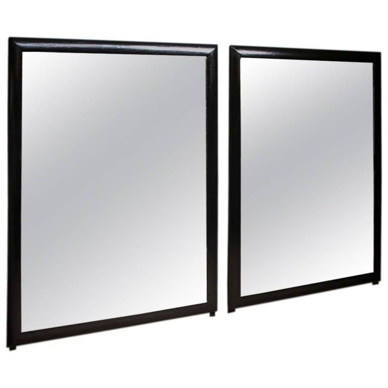 Pair of black framed mirrors at 1stdibs for Black full length wall mirror