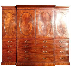 Antique Breakfront Linen Press Made of Mahogany And Coromandel