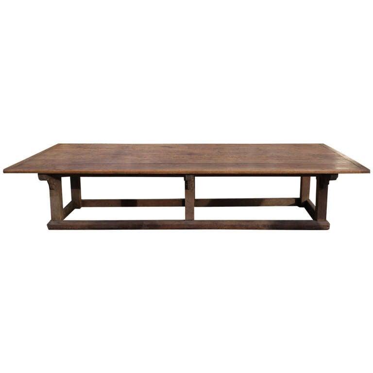 massive arts and crafts antique dining table at 1stdibs. Black Bedroom Furniture Sets. Home Design Ideas