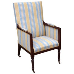 Antique Regency Mahogany Library Chair Fully Restored In Our Own Workshops