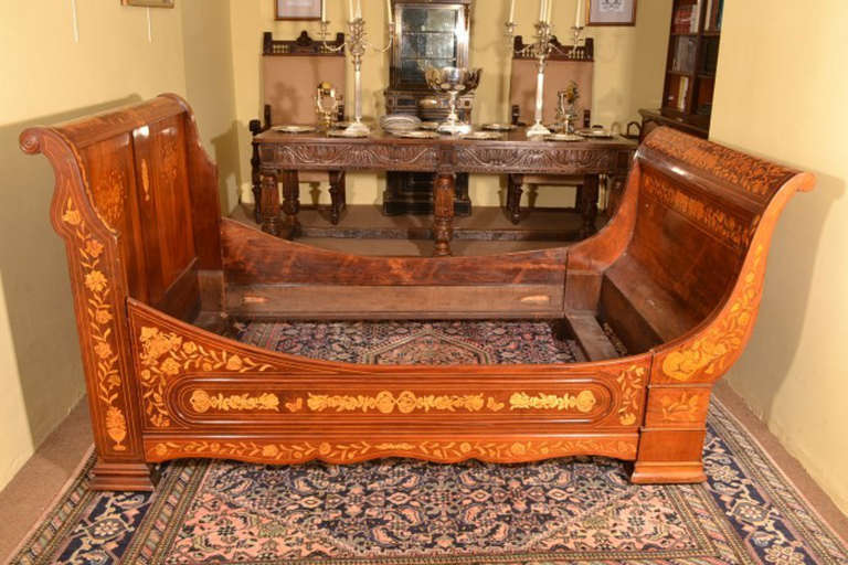 Antique Dutch Mahogany Marquetry Sleigh Bed c.1830 at 1stdibs
