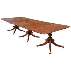 Magnificant Regency Three Pedestal Dining Table