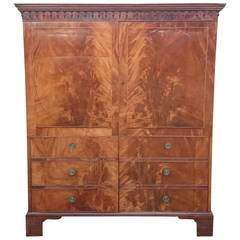 18th Century Flame Mahogany Wardrobe Linen Press
