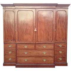 Antique Breakfront Linen Press Made of Finest Mahogany