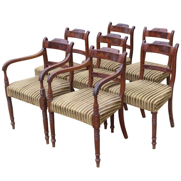 Set of 8 Mahogany Antique Dining Chairs For Sale