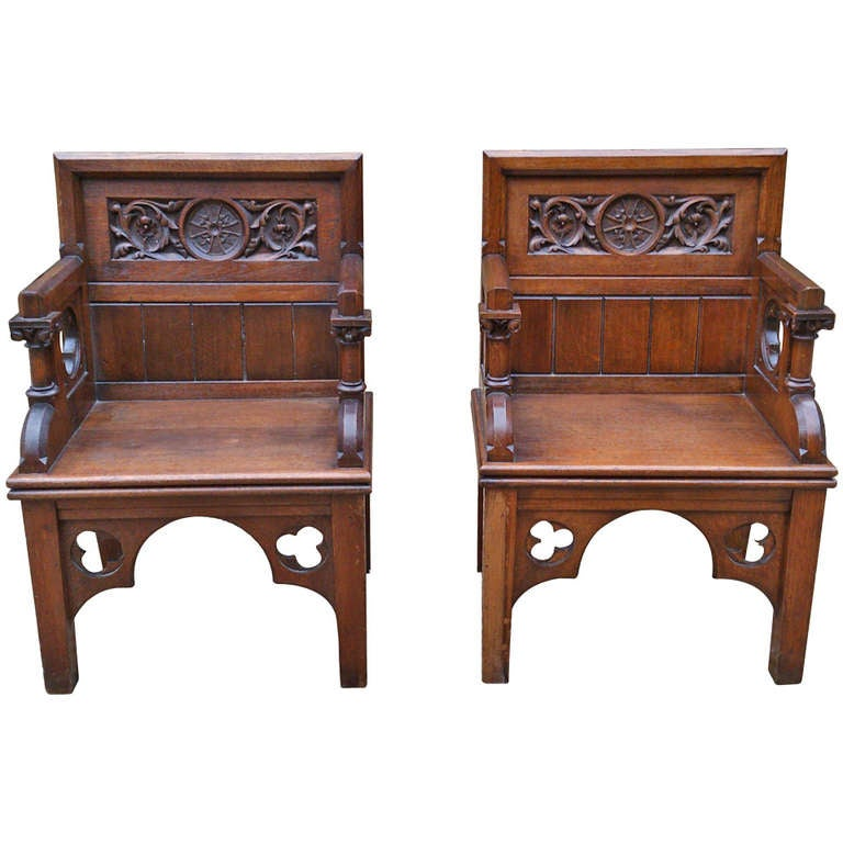Pair of Antique Gothic Chairs For Sale - Pair Of Antique Gothic Chairs At 1stdibs