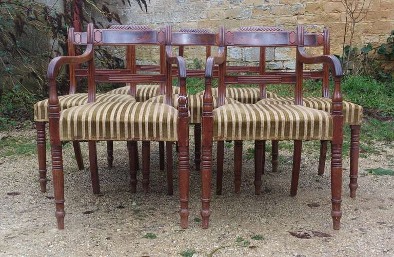 British Set of 8 Mahogany Antique Dining Chairs For Sale