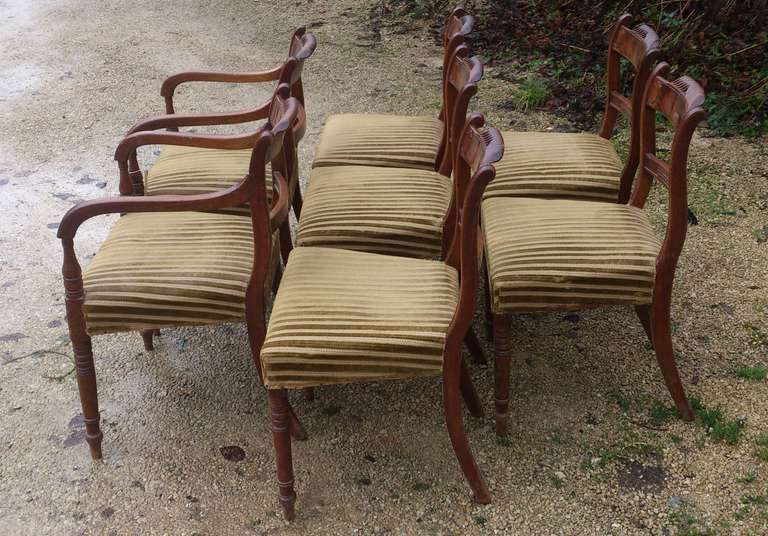19th Century Set of 8 Mahogany Antique Dining Chairs For Sale