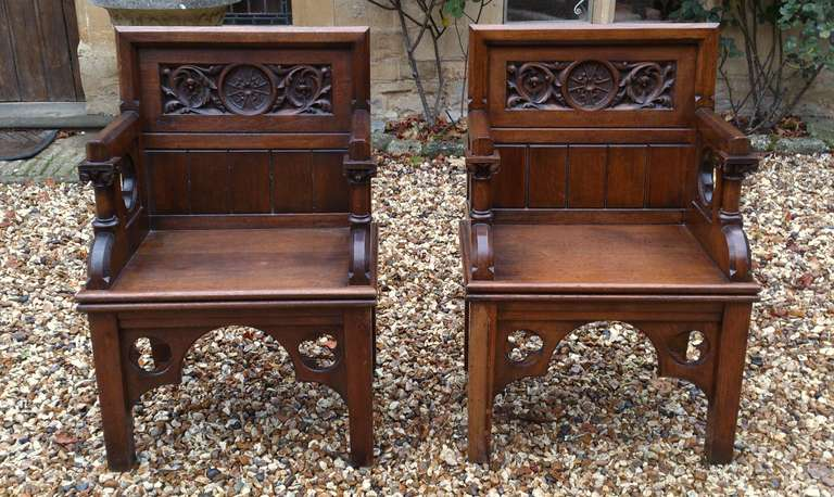 Pair of Antique Gothic Chairs 2 - Pair Of Antique Gothic Chairs At 1stdibs