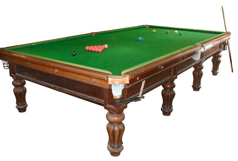 Full Size Antique Billiard / Snooker Table / Pool Table By Burroughs And  Watts