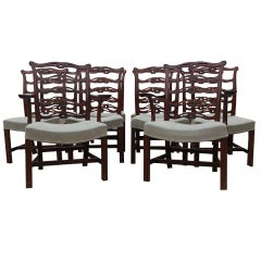 Set of Ten 19th Century Mahogany Antique Chippendale Dining Chairs