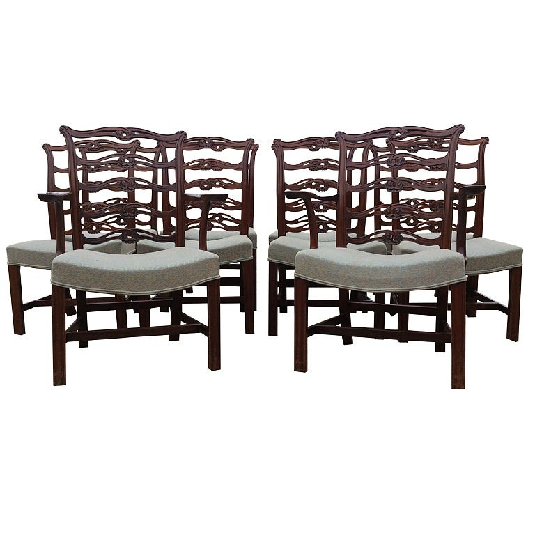 Set of 10 (8+2) Chippendale Dining Chairs