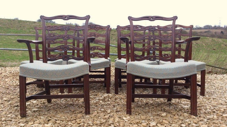 Superior Set Of 10 (8+2) Chippendale Dining Chairs 2