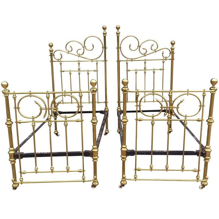 Antique Symmetrical Iron Frame Brass Beds At 1stdibs