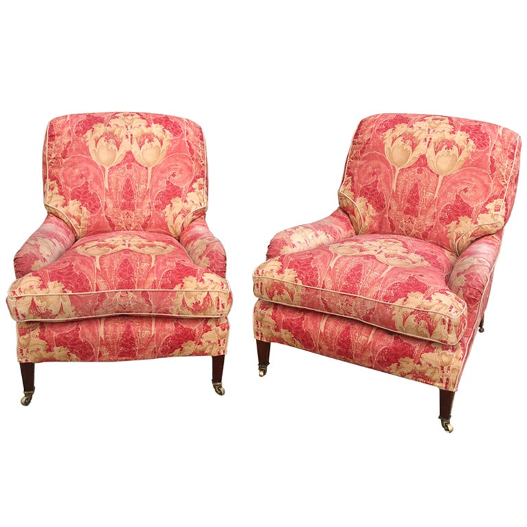 Pair of Howard and Sons Comfortable Armchairs at 1stdibs