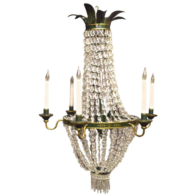 Antique Painted Metal And Cut Lead Crystal Glass Chandelier