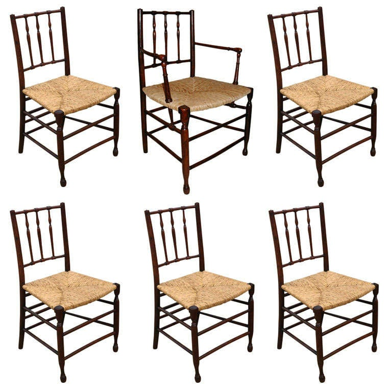 Set Of 6 Antique Yew Wood Dining Chairs For Sale At 1stdibs