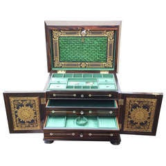 Antique Ladies Compendium Containing Work Box, Writing Slope And Jewellery Drawers