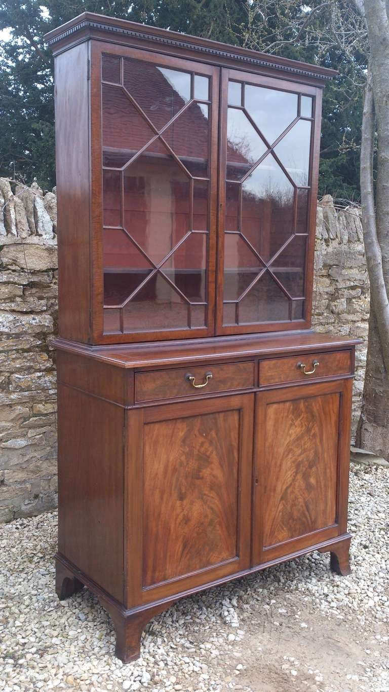 Georgian Small 19th Century Antique Bookcase with Flame Mahogany Doors