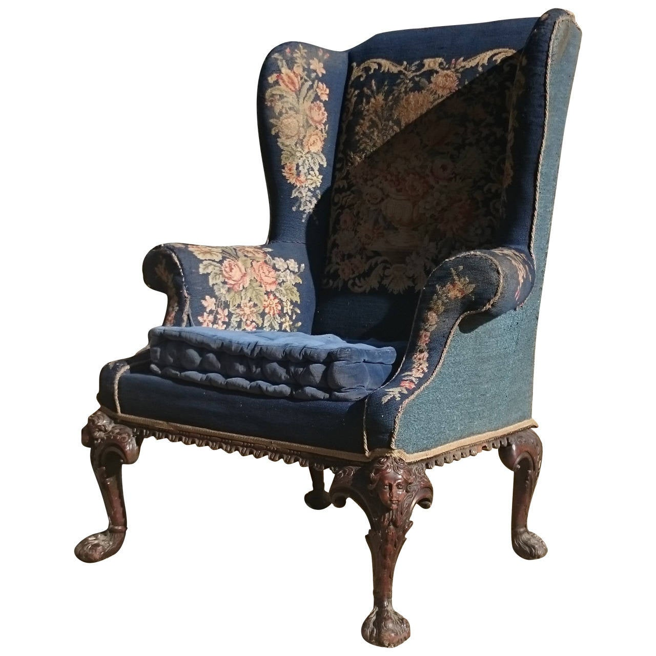 Fine Quality Large Scale Antique Wing Chair For Sale - Fine Quality Large Scale Antique Wing Chair At 1stdibs