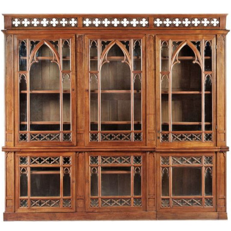Huge French Gothic Bookcase 1 - Huge French Gothic Bookcase At 1stdibs