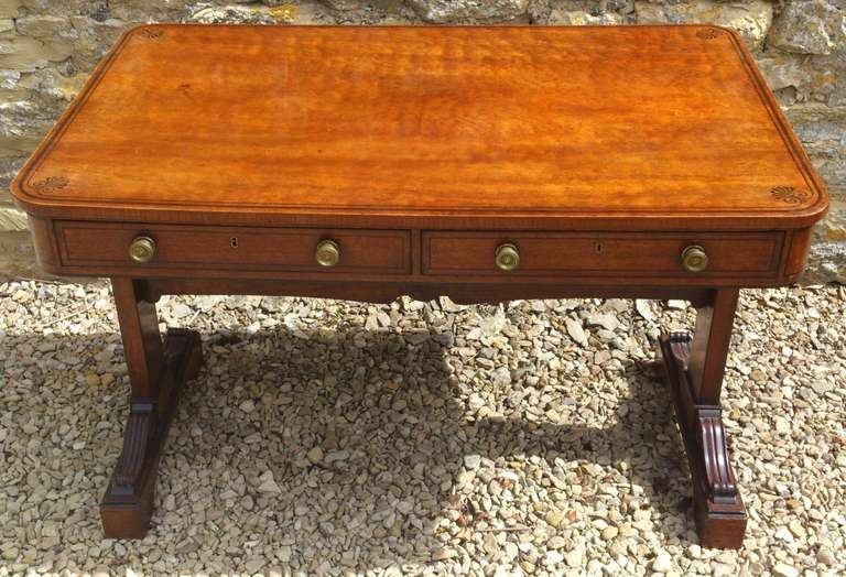 Charmant Antique Library Table Or Sofa Table. This Freestanding Table Desk Has False  Drawers Round The