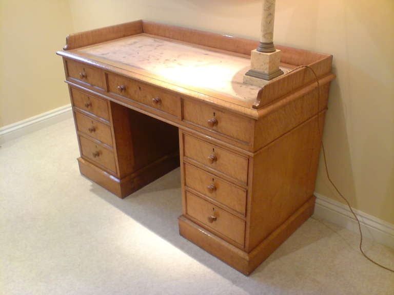 Antique desk dressing table bird s eye maple wood for