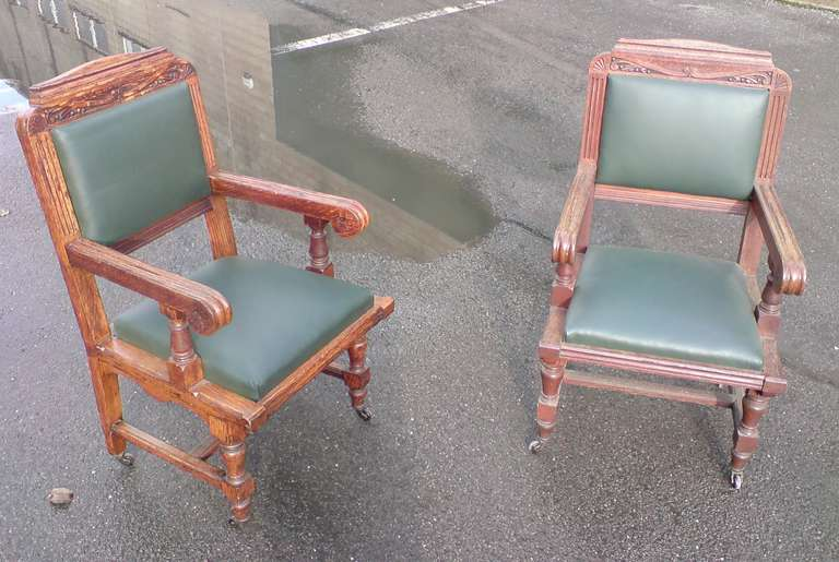 Arts and Crafts Set of Eight 19th Century Arts & Crafts Oak Dining Chairs 'All with Arms' For Sale