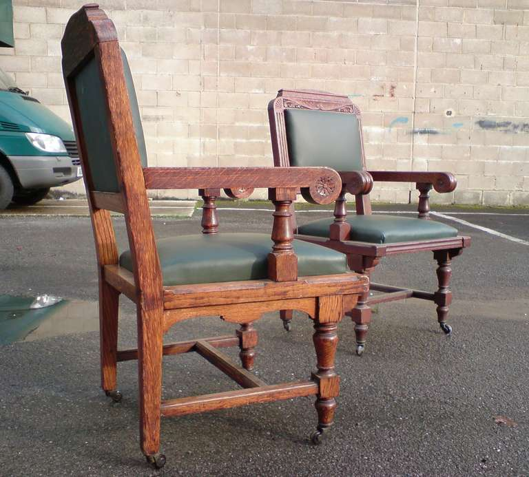 Set of Eight 19th Century Arts & Crafts Oak Dining Chairs 'All with Arms' In Excellent Condition For Sale In Gloucestershire, GB