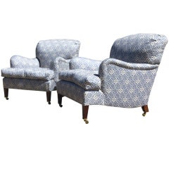 """Pair of Antique Armchairs """"Bridgewater"""" Model by Howard and Sons"""
