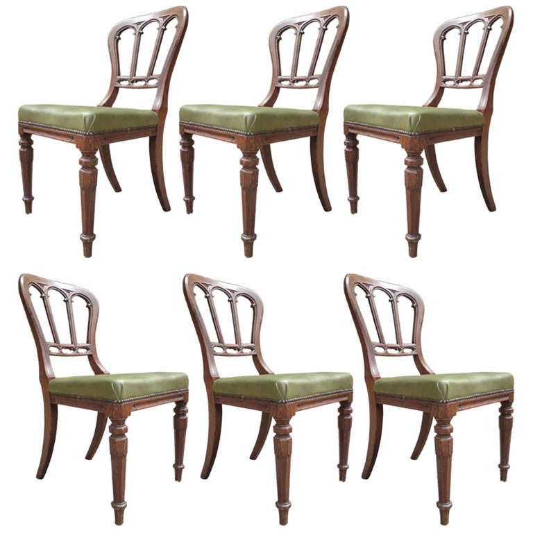 Good Early Set Of 6 Gothic Oak Dining Chairs For Sale At