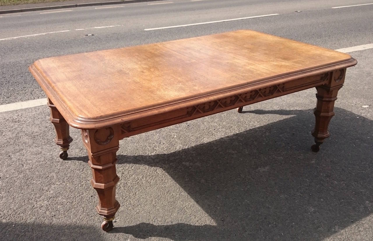 19th Century Victorian Gothic Oak Antique Dining Table For