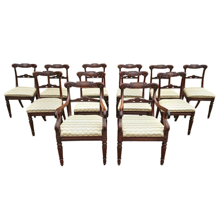 Very rare fine set of 12 dining chairs goncalo alves for Very small dining sets