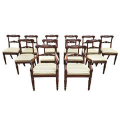 Very Rare Fine Set of 12 Dining Chairs, Goncalo Alves Timber