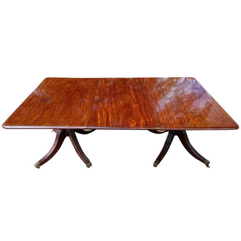 Antique mahogany twin pillar dining table at 1stdibs for Pillar dining table