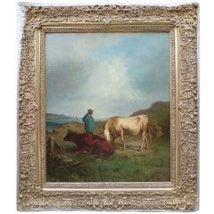 Rural Spanish Scene by Antonio Cortes (Spanish) 1827-1908