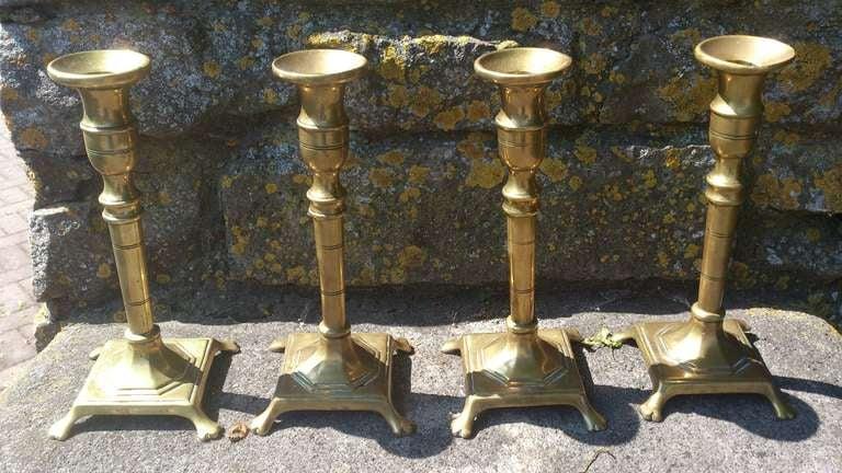 Set Of Four 18th Century Brass Candlesticks 2