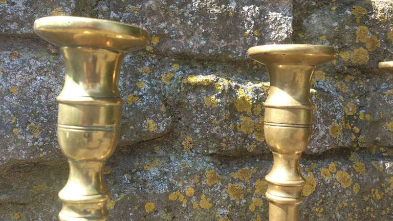 Set Of Four 18th Century Brass Candlesticks 4