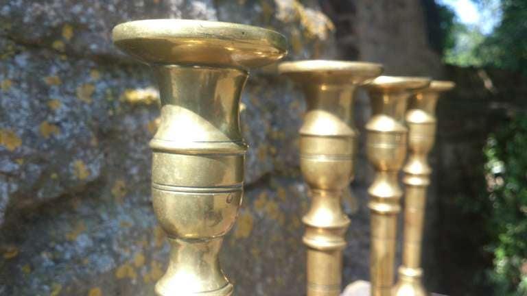Set Of Four 18th Century Brass Candlesticks 6