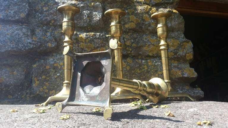 Set Of Four 18th Century Brass Candlesticks 9