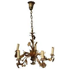 Vintage Gilt Brass Chandelier