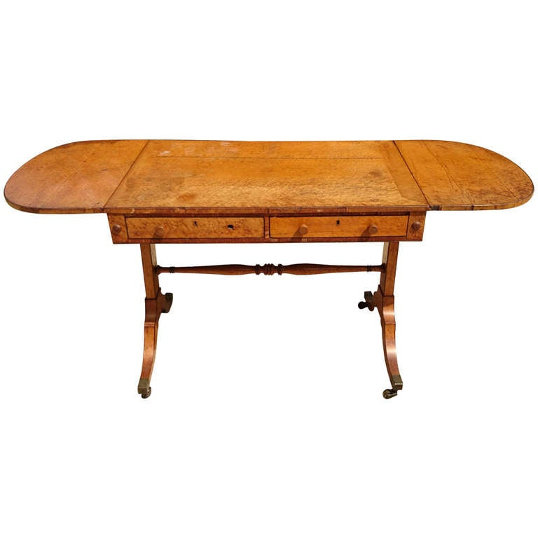 regency bird 39 s eye maple sofa table at 1stdibs