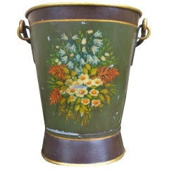 Antique Painted Pail or Scuttle