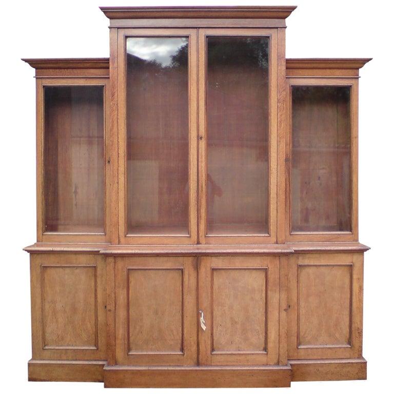 Large Oak Antique Breakfront Bookcase At 1stdibs