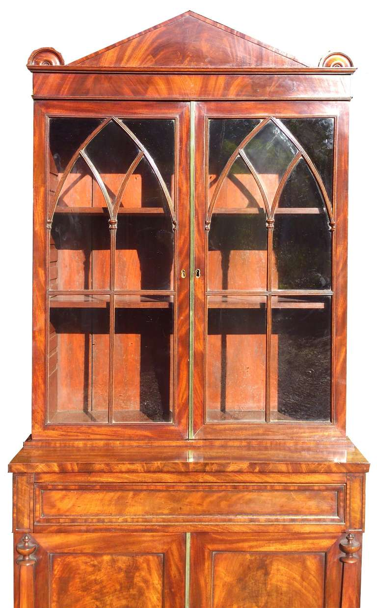 British Antique Bookcase / China Cabinet / Drinks Cabinet For Sale