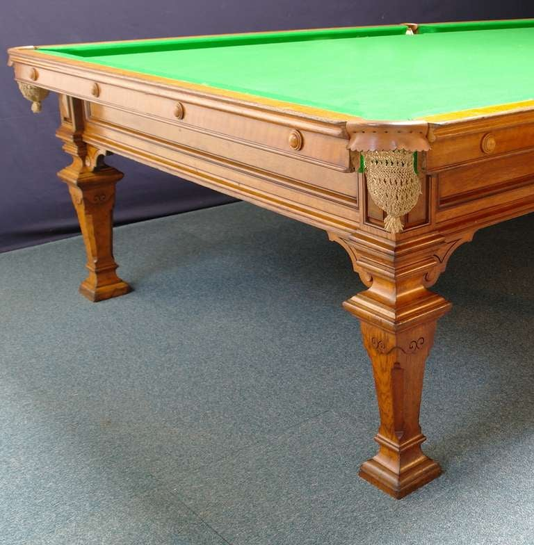 Very rare full size antique billiard snooker table by for 1 4 size snooker table