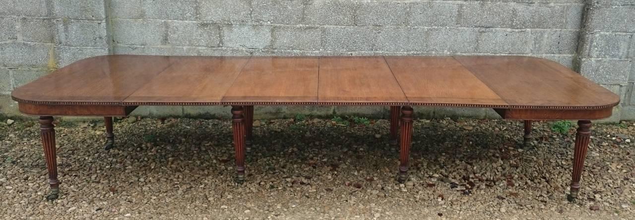 British Large Regency Antique Extending Oak DIning Table