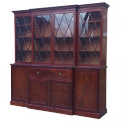 Large Library Secretary Bookcase in Flame Mahogany