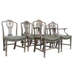 Set of Seven 18th Century English George III Period Dining Chairs